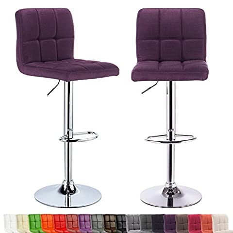 WOLTU BH32la-2-c Linen Bar stools with Backrest and Footrest Breakfast Kitchen Chair Stools 360 Degree Swivel and Height Adjustable from 60 to 82cm, 2 pcs/Purple