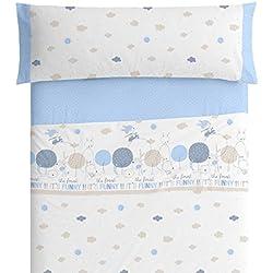 Burrito Blanco Juego de Sábanas Infantiles 005 de Algodón 100% para Cama de 90x190 cm hasta 90x200 Diseño de Animales, Azul Celeste