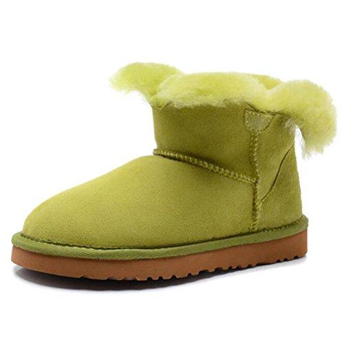 Vogstyle Femme Bottes de Neige Bout Rond en Peau de Mouton Colore Vert
