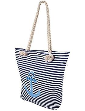 Shopper Tasche groß mit Reißverschluss maritime Schultertasche Kordel Seil Schulterbeutel Damen Handtasche Shopperbag...