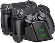 Tihokile Ricarica Controller PS4, Base di Ricarica Wireless con Doppio Joystick per PS4 con Indicatore LED, pe