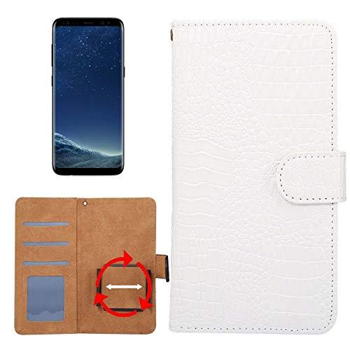 Krokodil-drehung (Allshopstock (#52) für Kompatibel mit : Galaxy S8 & S7 Edge & Kompatibel mit : Huawei P9 Plus Universal Drehung Klammer Krokodil Textur Flip- Leder-Etui (Weiß))