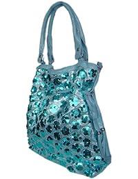 Damen Fahion Shopper,Schultertasche Girl Bag m.Pailletten Hellblau