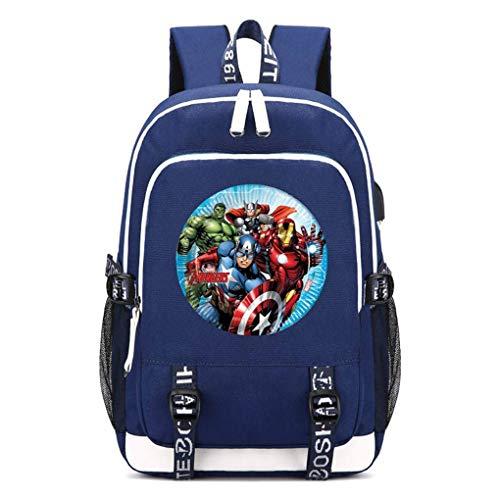 Memoryee Unisex Schulrucksack Geheimnisvoll Avengers Endspiel Superheld Gedruckt Laptop-Rucksack Multifunktionaler Daypack mit USB-Ladeanschluss Headset-Anschluss und 2 Linien Blau3
