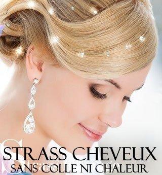 Accessoires cheveux pas cher, Bijoux cheveux mariage irisés promo 48 STRASS CHEVEUX IRISES. Orné de strass SWAROVSKI (+ 4 PLANCHES TATOUAGES OFFERTES) BIJOUX CHEVEUX (4MM diamêtre). SANS COLLE SANS CHALEUR QUALITE PROFESSIONNELLE COIFFURE. SEPARABLES ET REPOSITIONNABLES. Les strass s'enfilent dans les cheveux un par un. CADEAUX GRATUITS 4 GRANDES PLANCHES DE TATOUAGES DANS VOTRE COMMANDE.