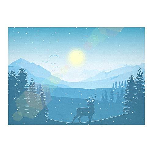 La neige blanche montagne hiver froid fait sur commande linge coton imprimé par table carrée tache Table linge nappe couverture tissu pour la maison cuisine décor Table salle à manger 60 x 84 pouces