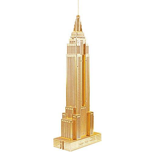 ell Empire State Building DIY handgemachtes 3D dreidimensionales Metallpuzzlespiel, das kreatives erwachsenes Geschenkspielzeug Gold + Werkzeug A eine Größe errichtet ()