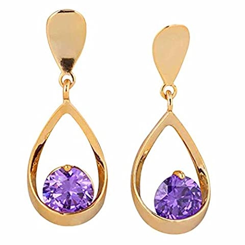 Yazilind Elegant 18K Gold Plated Inlay Round Purple Cubic Zirconia Waterdrop Design Dangle Drop Earrings for Women Gift