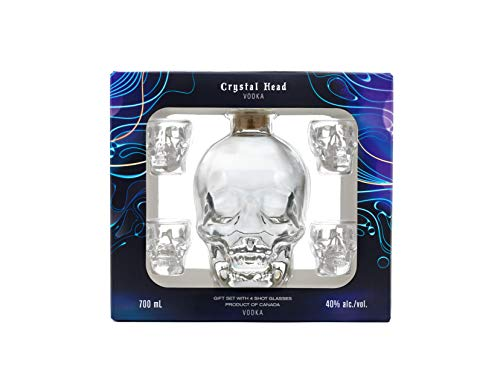 Crystal Head Vodka con 4 Bicchieri Shot in Set Regalo - 700 ml