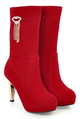 de Bottes Talon Rouge Mode Mariage Haut Femme Chaussures Aisun Ht1Zqw