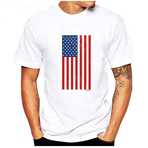 Sommer Weiß T-Shirt Für Herren,Skxinn Männer Kurzarm Rundkragen Slim Fit Independence Day Sport Shirts Sweatshirt Hemd Casual Oberteile Loose Bluse Tops L-3XL Ausverkauf(Weiß-10,Large)