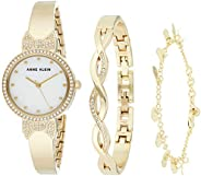 Women's Gift set Mother of Pearl Dial Gold Stainless Steel watch with 2 additional jewelry, a gold tone ba