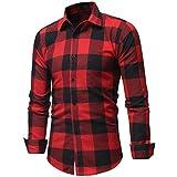 feiXIANG Herren Herbst Winter Hemd Casual Plaid Print Hemd Langarm T-Shirt Top Bluse mit Tasche (Z/Rot,XL)