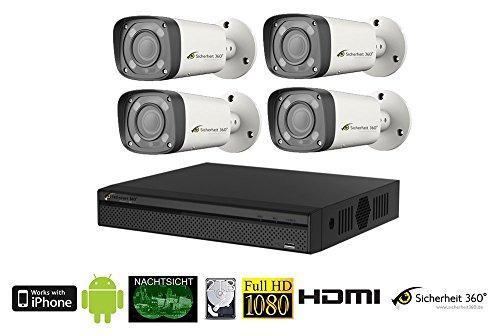 HDCVI Videoüberwachung Set 4x Vario Überwachungskameras mit 60m Nachtsicht, 2 TB Festplatte, 4x 20m, DVR, Bewegungserkennung, Smartphone Zugriff.