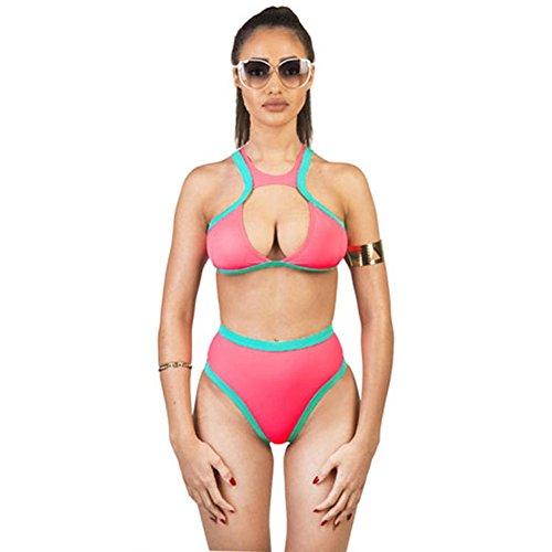 La Signora Costume Da Bagno Estate Halter Sexy Vita Alta Del Bikini Costume Da Bagno Spaccato Di Fissaggio ,rosa,m