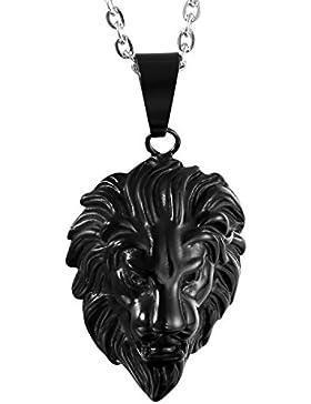Oidea Edelstahl schwarz Löwenkopf Anhänger mit silber Halskette 55cm Ketten für Herren Männer