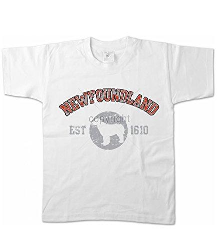 Artdiktat Girls T-Shirt - Neufundländer NEWFOUNDLAND - OLD SCHOOL Est. 1610 152/164, weiß
