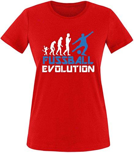 EZYshirt® Fussball Evolution Damen Rundhals T-Shirt Rot/Weiss/Blau