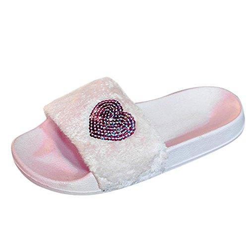 Alikeey  confortevoli sandali sandali da donna bling a forma di cuore beach moda flatshoes scarpe casual tinta unita paillettes sandali a forma di cuore scarpe da spiaggia (37 eu, rosa)