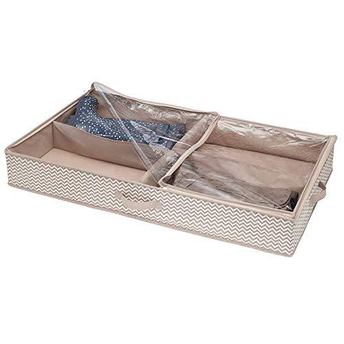 mDesign Unterbettkommode mit 4 praktischen Fächern - Unterbett Aufbewahrungsbox für Kleidung und Schuhe - platzsparende Kleideraufbewahrung aus atmungsaktivem Polypropylen - Taupe