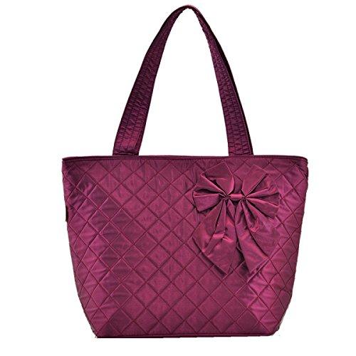 Yy.f Handtaschen Frauen-Bogen Tragbare Schultertasche Handtasche Tasche Baumwolltuch Gibt Es Drei Farben Red