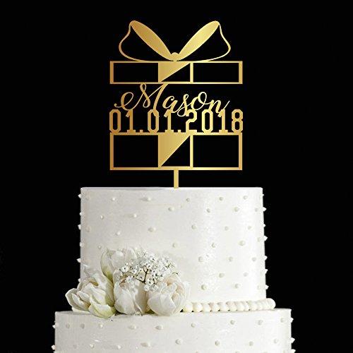 kiskistonite 1. Kuchen Topper Geschenk abgestimmtes Design Geburtstag One Jahrestag Gastgeschenken Party Kuchen dekorieren Supplies Baby Dusche für Jungen Mädchen | Golden