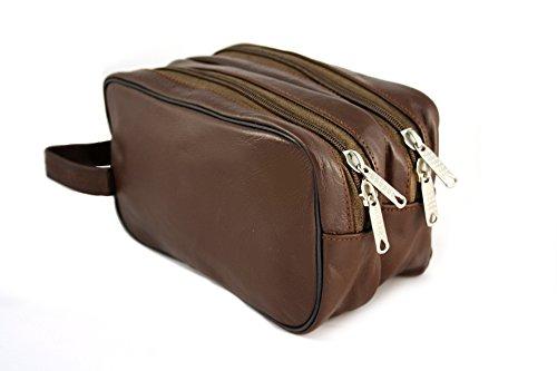 Kulturtasche echt Leder dunkelbraun, mit Doppeltasche