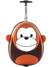 i-baby Maleta Infantil Cabina Con Ruedas Equipaje de Viaje Rigido Mochila y Bolsa para Niños Niñas Ropa Favoritos Juguetes 3D Dibujos Animados Mono Marrón para Chicos Chicas 4-10 años