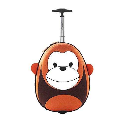 Kinder Rollen Gepäck Koffer Baby Schultaschen Hartschalenkoffer Reisekoffer Kindertrolley Reise, i-baby Affe Orange