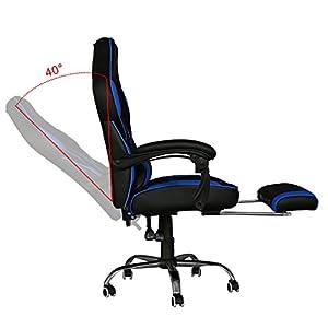41m1gMUzVSL. SS300  - HG-Office-Silla-Giratoria-Silla-Para-Juegos-Premium-Comfort-Apoyabrazos-Acolchados-Silla-De-Carreras-Capacidad-De-Carga-200-Kg-Altura-Ajustable-NegroAzul
