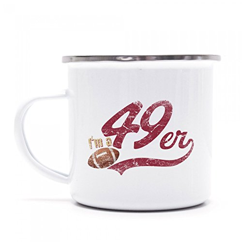 I'm a 49er Emaille-Tasse | American Football | Super Bowl | San Francisco | Kaffeetasse | Metall-Becher © Shirt Happenz, Farbe:weiß mit Silberrand;Größe:onesize