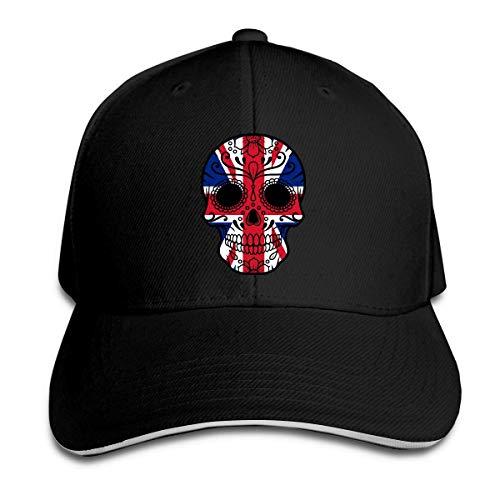 xinfub Gorra de béisbol Unisex Bandera británica Sugar Skull Cotton Sombrero Plano Algodón Ajustable Moda Sports Fan Caps Negro Neto Rojo 19502