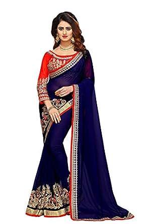 Sunshine Fashion Women's Georgette Saree (Sunsa2460_Blue_Free Size)