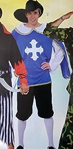 FIORI PAOLO-Mosquetero Disfraz Para Adulto, color negro, talla 52-54, 62084