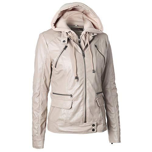 Preisvergleich Produktbild TWBB Damen Hoodie, Winter Verdicken PU Windjacke Wintermantel Lange Frauen Einfarbig wintercoat