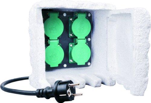 Smartwares RS104 Felsgarten-Steckdosenleiste – 4 geerdete Dosen – 10 Meter Neoprenkabel