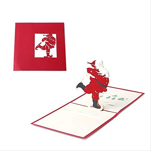 Merry Christmas Cards Handmade 3d Pop Up Biglietti d'auguri Babbo Natale Pattinaggio Inviti per feste Regali per festival adatti per benedizioni, saluti.6pcs