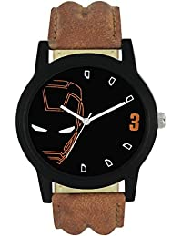 Swadesi Stuff Black Dial Brown Leather Strap Watch - For Men