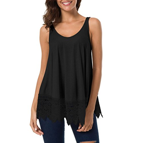 DAYSEVENTH Womens Lace Casual Sleeveless Blouse Hollow Out Vest Patchwork Tank Top
