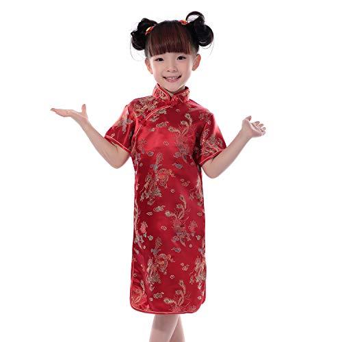 XFentech Cheongsam Vestido para Niña - Clásico Manga Corta Qi Pao Dragón y Fénix Chino Tradicional Fiesta Vestido Traje de Rendimiento, Rojo, Tag 2(80cm Altura Recomendada