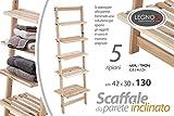 Mobile inclinato scaletta porta asciugamani bagno in legno 5 ripiani shabby chic 42 * 30 * 130 cm da appoggio AOX-759291