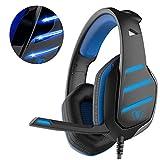 Cuffie Gaming, Beexcellent GM-3 Auricolare da gioco con microfono, luci LED e controllo del volume Stereo per la cancellazione del rumore a bassa rumorosità, per PS4 Xbox One, laptop, PC (blu)