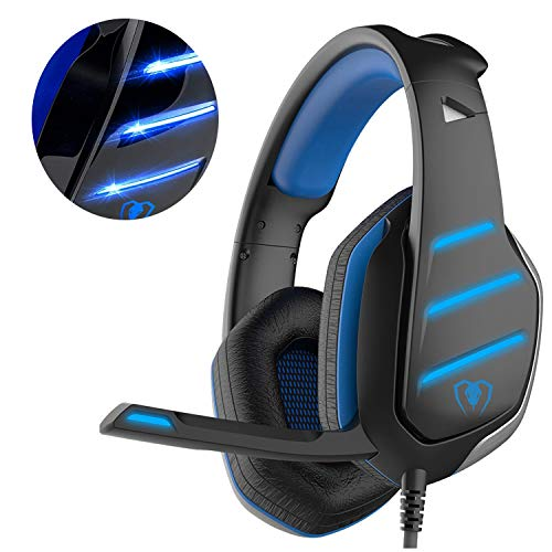 Beexcellent GM-3 Pro Wired Gaming Headset avec micro, LED et contrôle du volume Stereo Over-Ear Bass Noise Canceling, pour PS4 Xbox One, Ordinateur portable, PC(Bleu)