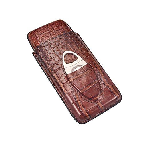 Jolly Caja de cigarros de Cuero marrón de 3 Dedos, Humidor de cigarro Forrado de Madera de Cedro con Cortador de Acero Inoxidable Plateado