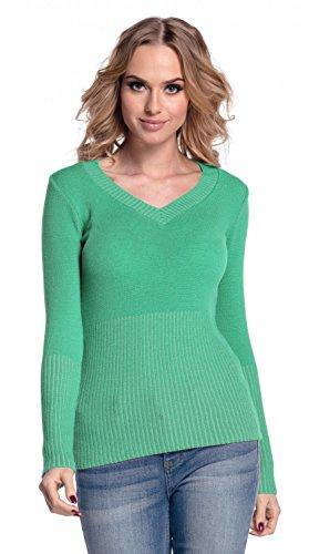 Glamour Empire. Damen Strick-oberteil Pullover Schmale Passform V-Ausschnitt 906 Grün