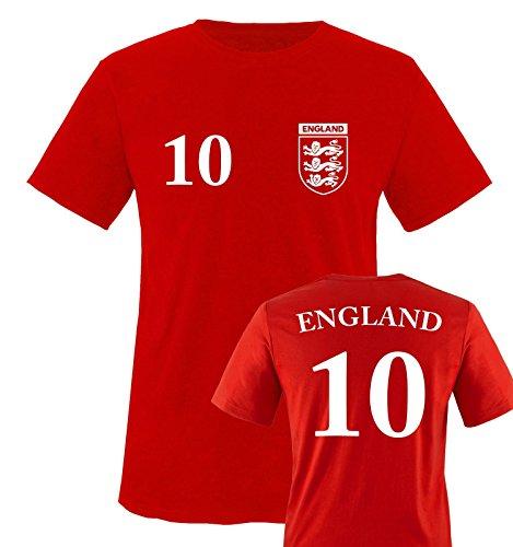 TRIKOT – ENGLAND – 10 – Herren T-Shirt – Rot / Weiss Gr. M
