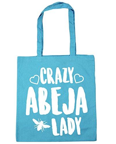hippowarehouse-crazy-abeja-lady-bolso-de-playa-bolsa-compra-con-asas-para-gimnasio-42cm-x-38cm-10-li