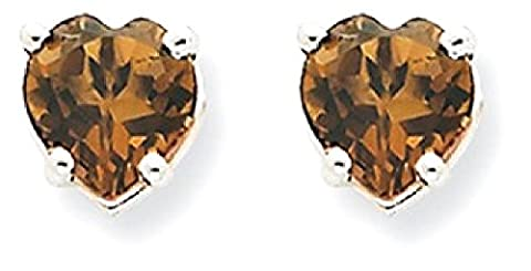 IceCarats 14kw 5mm Heart Checker Cut Smoky Quartz Earrings