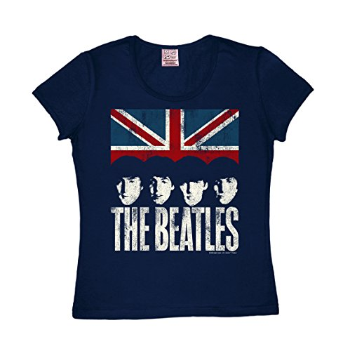 Logoshirt Frauen T-Shirt Beatles - The Beatles Shirt - Union Jack T-Shirt - Rundhals T-Shirt dunkelblau - The Fab Four - Lizenziertes Originaldesign, Größe S -
