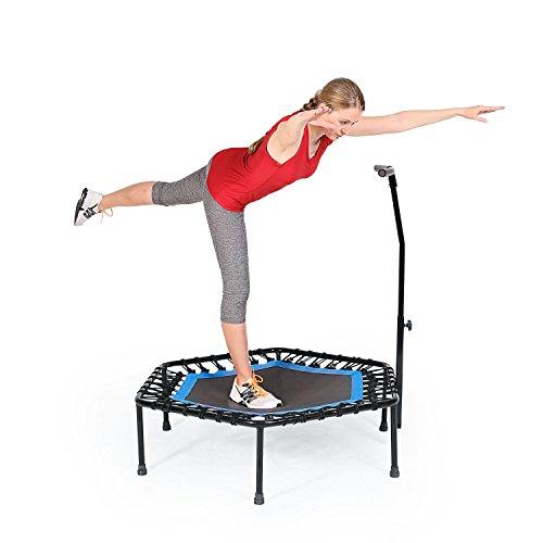 SportPlus Fitness Trampolin, Bungee-Seil-System, Ø 110 cm, bis 130 kg Benutzergewicht, TÜV Süd Sicherheit geprüft, blau - 6